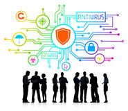 Konturer av affärsfolk med Antivirus och Spyware Royaltyfria Foton