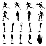 Konturer av amputeradfolk med protesen Konturer av prosthetic ben och armar vektor illustrationer