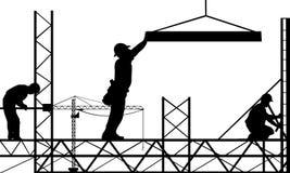 Konturer av arbetare på ställningar stock illustrationer