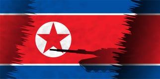 Konturer av behållare mot bakgrunden av flaggan av Nordkorea Royaltyfri Bild