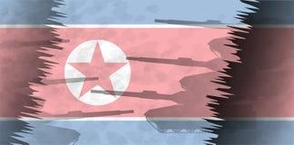 Konturer av behållare mot bakgrunden av flaggan av Nordkorea Arkivbilder