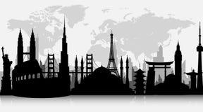 Konturer av berömda världsgränsmärken royaltyfri illustrationer