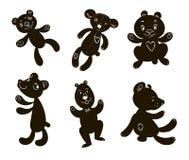 Konturer av björnar sex stycken med framsidor Arkivbild