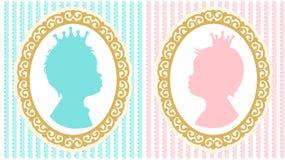 Konturer av den lilla prinsessan och prinsen med kronor Arkivbilder