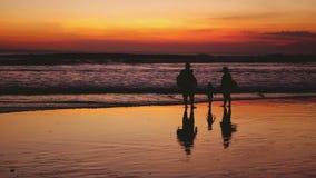 Konturer av den lyckliga familjen som går på havskust under härlig solnedgång Dem skuggor reflekterade i havet långsamt lager videofilmer
