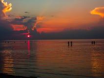 Konturer av folk som går på havet i bakgrunden av solnedgången royaltyfri foto
