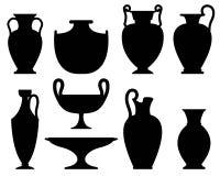 Konturer av forntida vaser Stock Illustrationer
