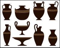 Konturer av forntida vaser med prydnaden Royaltyfri Illustrationer