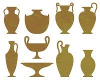 Konturer av forntida vaser med textur Vektor Illustrationer