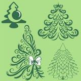 Konturer av granträd härlig vektor för julillustrationtrees Royaltyfria Bilder