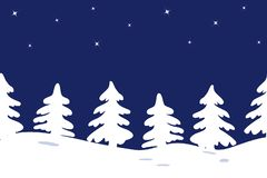 Konturer av julgranar på en stjärnahimmelbakgrund seamless kant vektor illustrationer