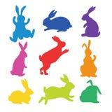 9 konturer av kaniner Fotografering för Bildbyråer