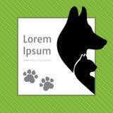Konturer av katten och hunden på affischmallen för veterinär- shoppar eller kliniken royaltyfri illustrationer