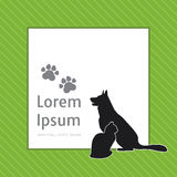 Konturer av katten och hunden på affischmallen för veterinär- shoppar eller kliniken vektor illustrationer