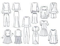 Konturer av kläder för kvinna` s Royaltyfri Fotografi