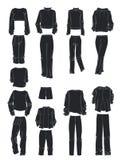 Konturer av kläder för sport för kvinna` s Arkivbilder
