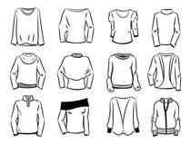 Konturer av kvinnors tröjor Arkivfoto