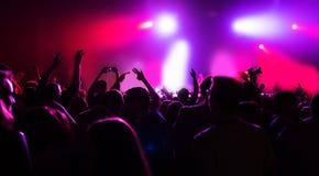 Konturer av lycklig musik för folkmassapartikonsert Arkivbilder