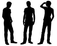Konturer av män är olika stående positioner Royaltyfri Bild