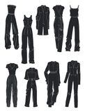 Konturer av overaller för kvinna` s Royaltyfria Bilder