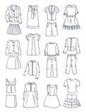 Konturer av skolakläder för flickor Royaltyfri Fotografi