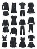 Konturer av skolakläder för flickor Arkivbilder