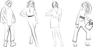 Konturer av spensliga flickor stock illustrationer