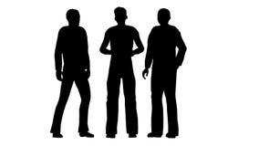 Konturer av ställningen för tre personer och meddelar vektor illustrationer