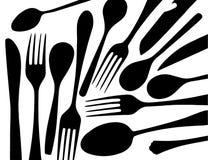 Konturer av svarta gafflar och skedar på vit bakgrund Royaltyfria Foton