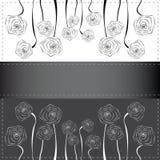 Konturer av vallmo blommar på vykortet Royaltyfria Bilder