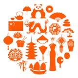 Konturer av vektorsymboler av Kina royaltyfri illustrationer