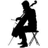 Konturer en musiker som spelar violoncellen också vektor för coreldrawillustration Arkivfoton