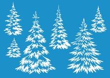Konturer för julgranträd stock illustrationer