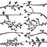 Konturer för klotterstilfilial vektor illustrationer