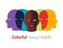 Konturer för mänskliga huvud Grupp människor som talar, arbetande togeth Royaltyfri Foto