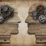 Konturer för mänskligt huvud med kuggar och kugghjul stock illustrationer