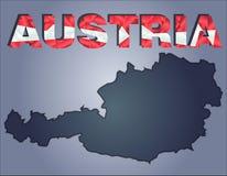 Konturerna av territoriet av det Österrike och Österrike ordet i färgerna av nationsflaggan royaltyfri illustrationer