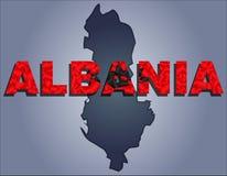 Konturerna av territoriet av det Albanien och Albanien ordet i färgerna av nationsflaggan vektor illustrationer