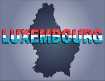 Konturerna av territoriet av det Luxembourg och Luxembourg ordet i färgerna av nationsflaggan vektor illustrationer