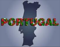 Konturerna av territoriet av det Portugal och Portugal ordet i färgerna av nationsflaggan stock illustrationer