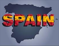 Konturerna av territoriet av det Spanien och Spanien ordet i färgerna av nationsflaggan stock illustrationer