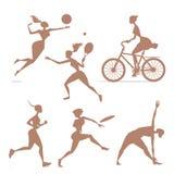 Konturflickor som är involverade i sportar Arkivfoton