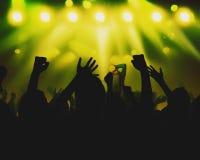 Konturfolkmassor under en musikalisk kapacitet arkivbilder