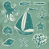 Konturhav - hand dragen uppsättning av havssymboler Fotografering för Bildbyråer