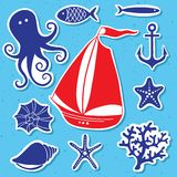 Konturhav - hand dragen uppsättning av havssymboler Royaltyfria Bilder