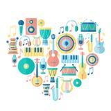 Konturhjärta med musikinstrument vektor illustrationer