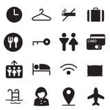 Konturhotell, vandrarhem, motellsymboler Fotografering för Bildbyråer
