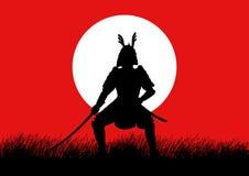 Konturillustration av en samuraj vektor illustrationer