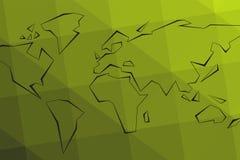 Konturkontinenter Grön triangulär lowpoly bakgrund Värld M stock illustrationer
