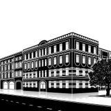 Konturkontorsbyggnad med en ingång och en reflexion